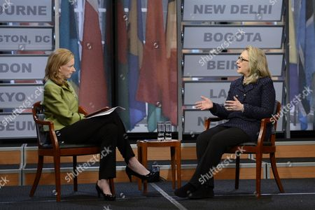 Stock Picture of Us Secretary of State Hillary Clinton (r) Talks to Moderator Leigh Sales (l) During a Town-hall Discussion in Advance of Clinton's Last Days As Secretary of State at the End of the Week at the Newseum in Washington Dc Usa 29 January 2013 United States Washington