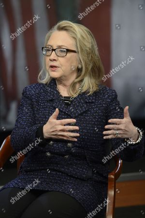 Us Secretary of State Hillary Clinton Talks to Moderator Leigh Sales (not Pictured) During a Town-hall Discussion in Advance of Clinton's Last Days As Secretary of State at the End of the Week at the Newseum in Washington Dc Usa 29 January 2013 United States Washington