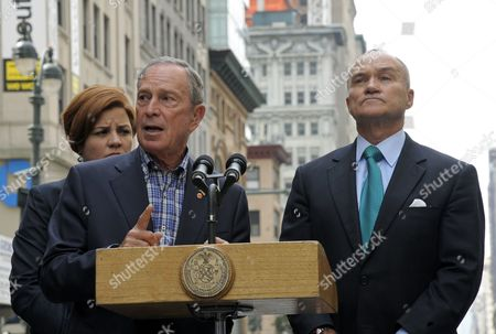New York City Mayor Michael Bloomberg (l) Holds a Press Conference a Half Block From the Empire State Building where a 53-year-old Man who Had Been Sacked by From a Women's Fashion Accessories Shop Shot and Killed a Former Co-worker in New York Usa 24 August 2012 Police Commissioner Raymond W Kelly (r) Said That Nine Bystanders Had Been ?wounded Or Grazed? and Taken to Hospitals the Mayor Said Said That Some of the Injured May Have Been Hit by Police Bullets During the Confrontation with the Suspect Whom Mr Kelly Identified As Jeffrey Johnson a Former Clothing Designer at Hazan Industries Epa/peter Foley United States New York
