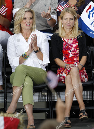 Republican Presidential Candidate Mitt Romney's Wife Ann Romney (l) and Vice Presidential Running Mate Wisconsin Congressman Paul Ryan's Wife Janna Little (r) Attend Waukesha Homecoming Rally at the Waukesha County Expo in Waukesha Wisconsin Usa 12 August 2012 United States Waukesha