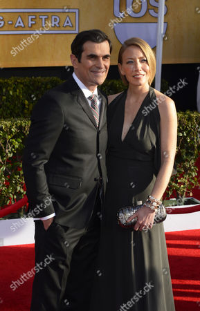 Us Actor Ty Burrell (l) and His Wife Holly Anne Brown Arrive For the 19th Annual Screen Actors Guild Awards at Shrine Auditorium in Los Angeles California Usa 27 January 2013 United States Los Angeles