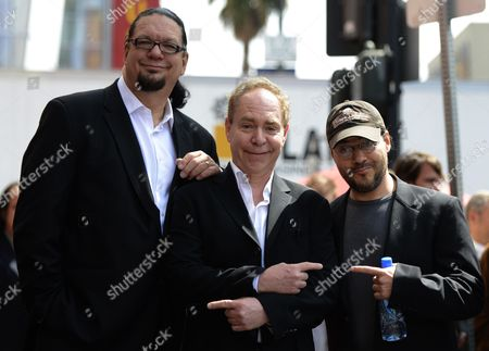 Us Illusionists Penn (l) & Teller (c) Pose with Us Director Adam Rifkin (r) As They Are Honored with a Star on the Hollywood Walk of Fame in Hollywood California Usa 05 April 2013 United States Hollywood