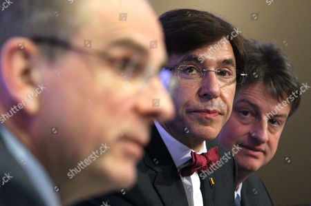 From L-r Belgian Minister of Finance Koen Geens Belgian Prime Minister Elio Di Rupo and Budget Minister Olivier Chastel Seen During a Press Conference After Belgian Government Reached an Agreement at Budgetary Control Meeting in Brussels Belgium 30 March 2013 Belgian Ministers Negotiated Three Weeks to Save 1 5 Billion Euros in Fiscal Measures to Meet the Government's Budgetary Objective For 2013 Belgium Brussels
