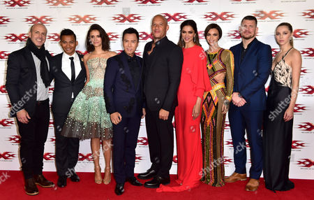 Stock Photo of Director D J Caruso, Tony Jaa, Nina Dobrev, Donnie Yen, Vin Diesel, Deepika Padukone, Ruby Rose, Michael Bisping and Hermione Corfield
