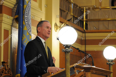 South Dakota Gov. Dennis Daugaard gives his State of the State address at the Capitol in Pierre, S.D. Lawmakers gathered for the start of the 2017 legislative session