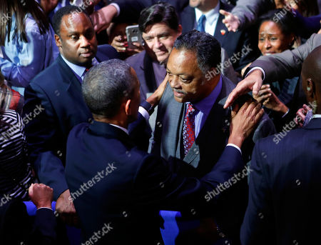 Barack Obama, Reverend Jesse Jackson, Jonathan Jackson President Barack Obama talks with Rev. Reverend Jesse Jackson following his farewell address at McCormick Place in Chicago,. On the left is Jackson's son Jonathan Jackson