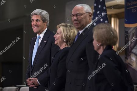 (L-R) US Secretary of State John Kerry, former US Secretary of State Hillary Clinton former Secretary of State Colin Powell, and former Secretary of State Madeleine Albright at the start of a reception celebrating the completion of the U.S. Diplomacy Center Pavilion at the US Department of State in Washington, DC, USA, 10 January 2017.
