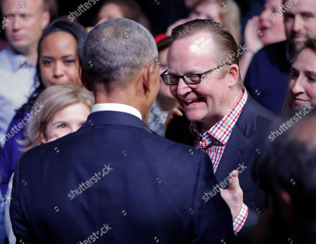 Barack Obama, Robert Gibbs President Barack Obama stops to talk with his former White House Press Secretary Robert Gibbs, right, at McCormick Place in Chicago