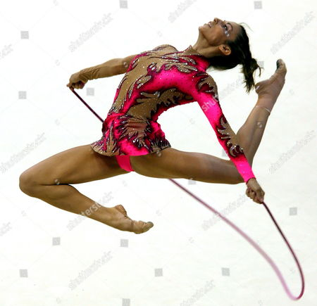 Almudena Cid of Spain Performs Her Individual Programme During the 23rd Rhythmic Gymnastics European Championships Being Held in Baku Azerbaijan 1 July 2007