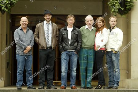 l-r Charles Martin Smith (director), Charlie Cox, Robert Carlyle,Ian Hamilton, the writer of the book The Stone of Destiny, Kate Mara, Billy Boyd