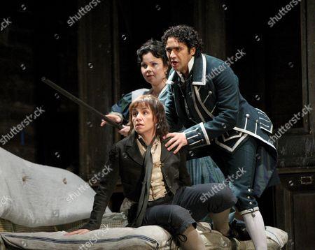 Stock Photo of 'Le Nozze di Figaro' - Anna Bonitatibus ( Cherubino )  Aleksandra Kurzak ( Susanna )  Ildebrando D'Arcangelo ( Figaro )