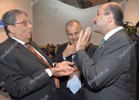 Arab League Secretary General Amr Moussa (l) Jordanian Foreign Minister Abdelilah Al-khatib (c) and Iraqi Deputy Prime Minister Barham Salah (c) Talk at the End of the First Day of the International Compact On Iraq Conference in Sharm El Sheikh Egypt 03 May 2007 Foreign Ministers From the G8 European Union Arab League the United Nations Iran and Turkey Will Participate in a Two-day Conference On Iraq From 3-4 May to Discuss the Situation in Iraq