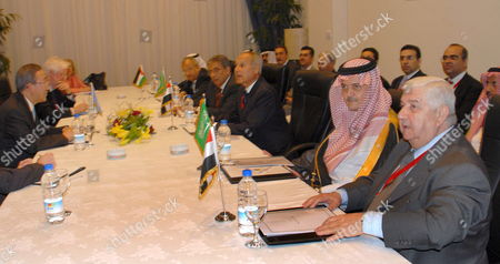 Syrian Foreign Minister Walid Mualem (r) Saudi Foreign Minister Prince Saud Al Faisal (2-r) Egyptian Foreign Minister Abul Ghet (3-r) Arab League Secretary General Amr Moussa (4-r) and Jordanian Foreign Minister Abdelilah Al-khatib (5-r) Meet with Un Secretary General Ban Ki-moon (l) at the International Compact On Iraq Conference Gets Underway in Sharm El Sheikh Egypt 03 May 2007 Foreign Ministers From the G8 European Union Arab League the United Nations Iran and Turkey Will Participate in a Two-day Conference On Iraq From 3-4 May to Discuss the Situation in Iraq