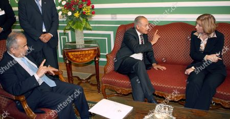 Israeli Foreign Minister Tzipi Livni (r) Meets with Her Egyptian and Jordanian Counterparts Ahmed Abul Gheit (c) and Abdelilah Al-khatib (l) at the Foreign Ministry in Cairo Egypt 10 May 2007 Saudi Arabia Has Relaunched Its Arab Peace Initiative with the Arab Quartet's Egypt and Jordan Carrying out Contacts with Israel