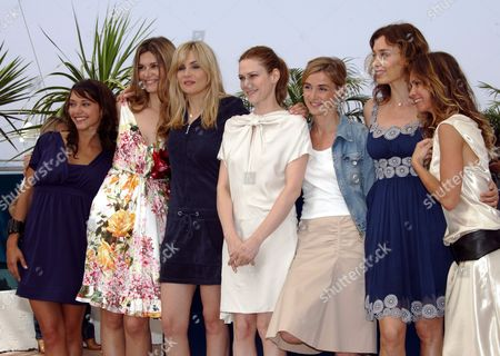 Stock Photo of (l-r) French Actresses Emma De Caunes Marina Hands and Emmanuelle Seigner Canadian Actress Marie-jose Croze French Actress Anne Consigny Us Actress Olatz Lopez Garmendia and French Actress Agathe De La Fontaine Pose During a Photocall For Us Director Julian Schnabel's Film 'Le Scaphandre Et Le Papillon' Running in Competition at the 60th Cannes Film Festival 22 May 2007 in Cannes France