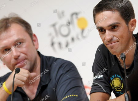 Astana Team Rider Alberto Contador of Spain (r) and Astana Cycling Team Director Belgian Johan Bruyneel (l) Adresse to the Media Ahead of Saturday's Departure of the 2009 Tour De France Cycling Race in Monaco on 03 July 2009 Monaco Monaco