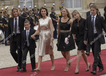French President Nicolas Sarkozy's Wife Cecilia Arrives with Her Son Louis Sarkozy (2l) Her Daughters Judith Martin (c) and Jeanne-marie Martin (2r) Her Step-sons Jean Sarkozy (l) and Pierre Sarkozy (r) For the Handover Ceremony at Elysee Palace Paris France 16 May 2007 Mr Sarkozy Was Sworn in As 23rd President of the French Republic