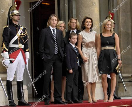 French President Nicolas Sarkozy's Wife Cecilia (2r) Poses For Photographers with Her Son Louis Sarkozy (c Front) Her Daughters Judith Martin (r) and Jeanne-marie Martin (2l) Her Step-sons Jean Sarkozy (c Back) and Pierre Sarkozy (l) at Elysee Palace Paris France 16 May 2007 Mr Sarkozy Was Sworn in As 23rd President of the French Republic