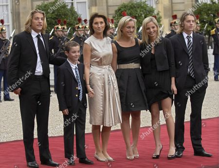 French President Nicolas Sarkozy's Wife Cecilia (3r) Poses For Photographers with Her Son Louis Sarkozy (2l) Her Daughters Judith Martin (c) and Jeanne-marie Martin (2r) Her Step-sons Jean Sarkozy (l) and Pierre Sarkozy (r) at Elysee Palace Paris France 16 May 2007 Mr Sarkozy Was Sworn in As 23rd President of the French Republic