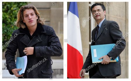 A Two Way Picture Combo of Jean Sarkozy Son of French President Nicolas Sarkozy (l) Taken at Elysee Palace in Paris France 25 October 2007 and French Minister Responsible For the Government's Economic Recovery Plan Patrick Devedjian (r) Taken at Elysee Palace in Paris France 01 July 2009 the Young Sarkozy (22) Who at Present is One of the Elected Ump Members of the General Council of Hauts-de-seine Outside Paris is Being Promoted by Party Members to Run in 2011 For the Presidency of the General Council of Hauts-de-seine a Seat That His Father Held Until Becoming President of France Against the Incumbent Patrick Devedjian (64) Who Already Announced That Will Seek Reelection