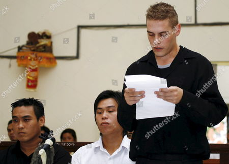 Australian Matthew Norman (r) Tan Duc Thanh Nguyen (l) and Si Yi Chen (c) Three of Six Australian Members of the 'Bali Nine' On Death Row Inside a Courtroom As They Read Their Own Plea During a Judicial Review Trial at Denpasar District Court in Bali Indonesia On 25 June 2007 Lawyers Argued That Indonesia's Supreme Court Was Wrong When It Upgraded Their Sentences From 20 Years' Jail to the Death Penalty
