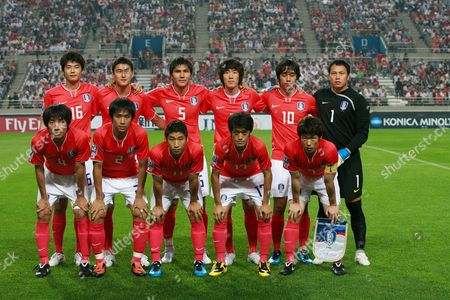 South Korean Soccer Team Players Pose Prior Their 2010 World Cup Asia Qualifier South Korea Vs Iran Soccer Match at Sangam World Cup Stadium in Seoul South Korea 17 June 2009 Front Row From Left - Cho Young Hzung Oh Beom Seok Lee Keun Ho Lee Chung Yong Park Ji Sung Hind Row From Left - Ki Sung Yueng Lee Jung Soo Kim Dong Jin Kim Jung Woo Park Chu Young and Lee Woon Jae