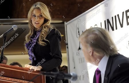 Miss California Carrie Prejean (l) Addresses Us Entrepreneur Donald Trump (r) During a Press Conference where Trump Who Owns the Miss Usa Pageant Announced That Prejean Can Retain Her Title As Miss California in New York New York Usa On 12 May 2009 Prejean Failed to Reveal That She Had Posed in Her Underwear As a Teenager Before Last Month's Miss Usa Pageant