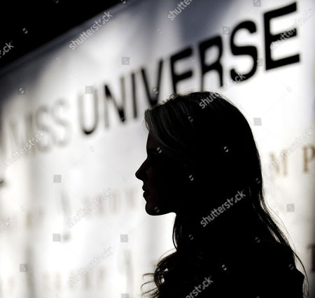 Miss California Carrie Prejean is Silhouetted During a Press Conference where Us Entrepreneur Donald Trump Who Owns the Miss Usa Pageant Announced That Prejean Can Retain Her Title As Miss California in New York New York Usa On 12 May 2009 Prejean Failed to Reveal That She Had Posed in Her Underwear As a Teenager Before Last Month's Miss Usa Pageant