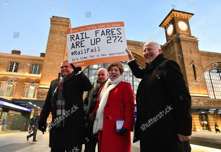 L to R Manuel Cortes, General Secretary for Transport Salaried staffs Association, Shadow Foreign Secretary Emily Thornberry, Andy McDonald MP, Shadow secretary of state for transport Rail campaigners protest the increasing cost of travel outside Kings Cross Station