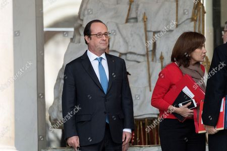 Laurence Rossignol, French President Francois Hollande and Jean-Marc Todeschini leave after a weekly cabinet meeting