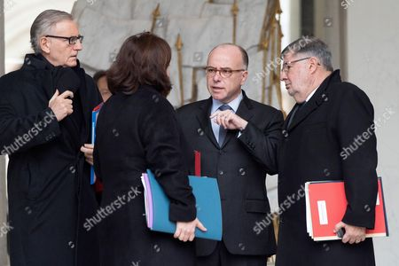 Andre Vallini, Emmanuelle Cosse, French Prime Minister Bernard Cazeneuve and Alain Vidalies leave the Elysee Presidential Palace in Paris after a weekly cabinet meeting