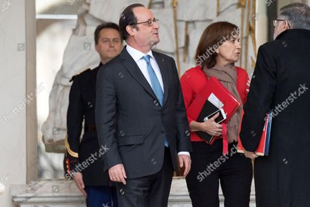 Laurence Rossignol, French President Francois Hollande and Jean-Marc Todeschini