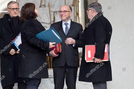 Andre Vallini, Emmanuelle Cosse, Bernard Cazeneuve and Alain Vidalies