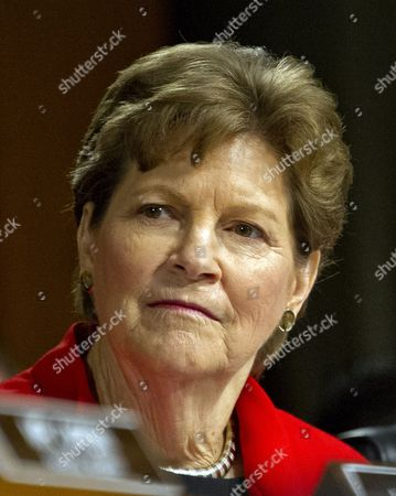 Stock Image of United States Senator Jeanne Shaheen (Democrat of New Hampshire), a member of the US Senate Committee on Foreign Relations, at the hearing considering the nomination of Rex Wayne Tillerson, former chairman and chief executive officer of ExxonMobil to be Secretary of State of the US
