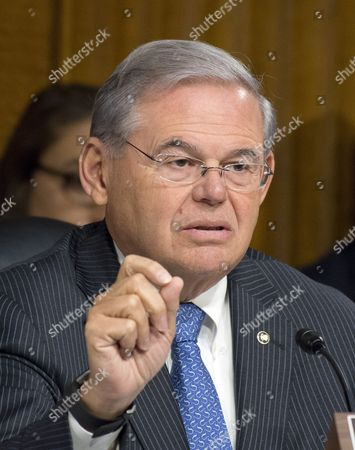 Stock Photo of United States Senator Bob Menendez (Democrat of New Jersey), a member of the US Senate Committee on Foreign Relations, at the hearing considering the nomination of Rex Wayne Tillerson, former chairman and chief executive officer of ExxonMobil to be Secretary of State of the US
