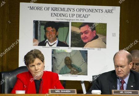 United States Senator Jeanne Shaheen (Democrat of New Hampshire), left, uses a chart to question Rex Wayne Tillerson, former chairman and chief executive officer of ExxonMobil during the US Committee on Foreign Relations hearing considering his nomination to be Secretary of State of the US on Capitol Hill in Washington, DC. US Senator Christopher A. Coons (Democrat of Delaware) is at right.