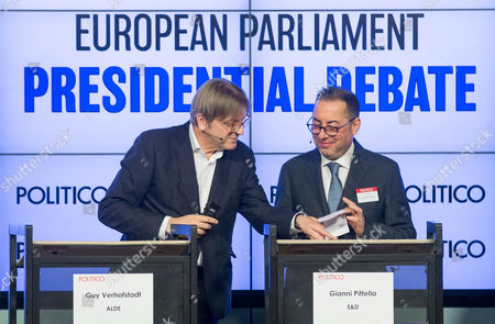 Guy Verhofstadt of ALDE and Gianni Pittella of S&D during the European Parliament Presidential debate at the Residence Palace in Brussels, Belgium, 11 January 2017. The European Parliament Presidential election will take place on 17 January 2017 in Strasbourg.
