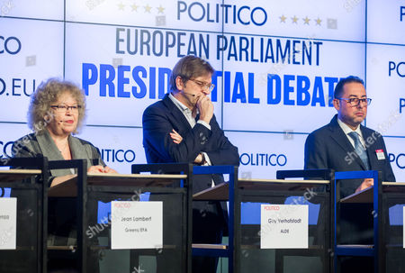 (L-R) Jean Lambert of GREENS/EFA, Guy Verhofstadt of ALDE, Gianni Pittella of S&D during the European Parliament Presidential debate at the Residence Palace in Brussels, Belgium, 11 January 2017. The European Parliament Presidential election will take place on 17 January 2017 in Strasbourg.