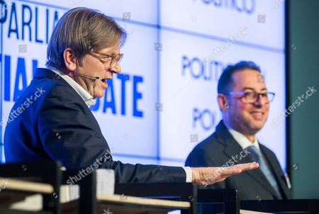 Guy Verhofstadt of ALDE (L) and Gianni Pittella of S&D during the European Parliament Presidential debate at the Residence Palace in Brussels, Belgium, 11 January 2017. The European Parliament Presidential election will take place on 17 January 2017 in Strasbourg.