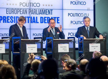 (L-R) Guy Verhofstadt of ALDE, Gianni Pittella of S&Dand Antonio Tajani of EPP during the European Parliament Presidential debate at the Residence Palace in Brussels, Belgium, 11 January 2017. The European Parliament Presidential election will take place on 17 January 2017 in Strasbourg.