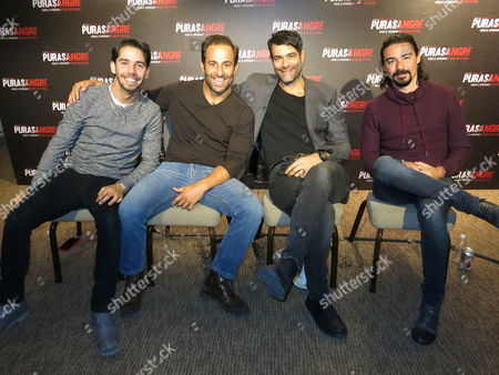 "Stock Image of The actors of the Mexican film ""Purasangre"" pose for a portrait during an interview in Mexico City. From left, Ruy Senderos, Mauricio Arguelles, Luis Roberto Guzman, and Cesar Rodriguez. The film about a group of thieves at a race track, premieres on Friday, Jan. 13 in Mexico"
