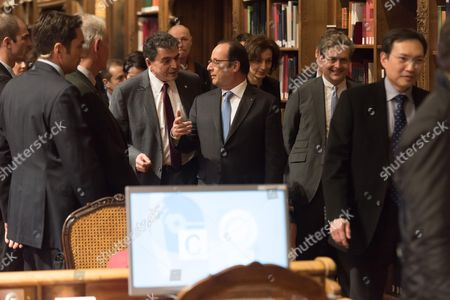 Stock Photo of Pierre Lellouche and Francois Hollande.