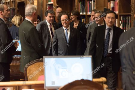 Stock Picture of Pierre Lellouche and Francois Hollande.