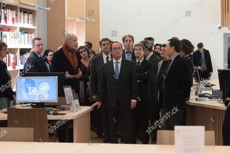Pierre Lellouche, Francois Hollande and Louis Gautier.