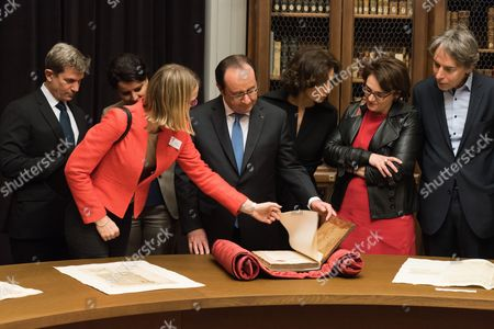 Louis Gautier, Francois Hollande and French Minister of Culture and Communication, Audrey Azoulay.