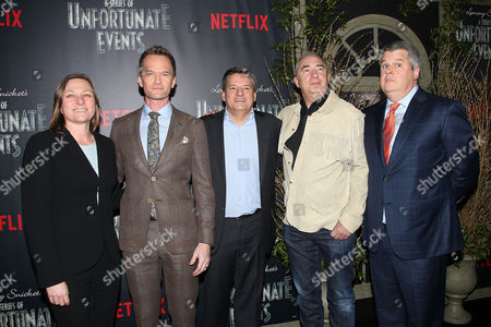 Cindy Holland, Neil Patrick Harris, Ted Saindos, Barry Sonnenfeld and Lemony Snicket