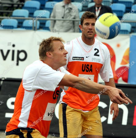 Dax Holdren (l) and Sean Scott (r) of Usa in Action During Their Match Against Pedro Solberg Salgado and Roberto Lopes of Brazil at the Beach Volleyball World Tour in Zagreb On Saturday 03 June 2006