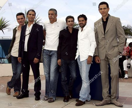 French Director Rachid Bouchareb (3rd R) Poses with French Actors (l-r) Bernard Blancan Sami Bouajila Samy Naceri Jamel Debbouze and Roschdy Zem During a Photo Call For Their Film 'Indigenes' Running in Competition at the 59th Cannes Film Festival Thursday 25 May 2006 in Cannes