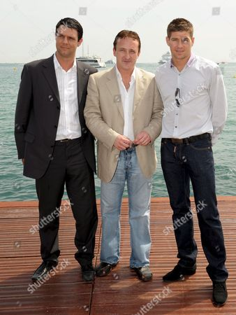 British Football Player Steven Gerrard (r) British Actor Neil Fitzmaurice (c) and Paul Mcgatten (l) Attend a Photocall During the 62nd Edition of the Cannes Film Festival in Cannes France 20 May 2009