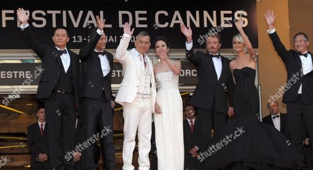 Cast and Crew Members Including French Rockstar Johnny Hallyday (3rd R Arrive For the Gala Screening of Their Film 'Vengeance' by Johnny to Running in Competition During the 62nd Edition of the Cannes Film Festival in Cannes France 17 May 2009